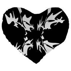 Black and white pattern Large 19  Premium Flano Heart Shape Cushions