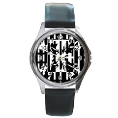 Black and white abstraction Round Metal Watch