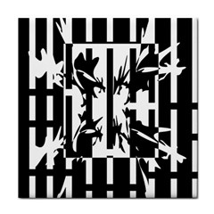 Black and white abstraction Tile Coasters