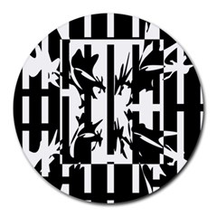 Black and white abstraction Round Mousepads