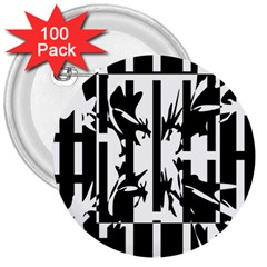 Black and white abstraction 3  Buttons (100 pack)