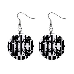 Black and white abstraction Mini Button Earrings