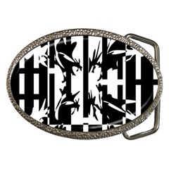 Black and white abstraction Belt Buckles