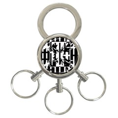 Black and white abstraction 3-Ring Key Chains