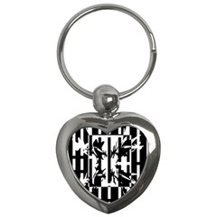 Black and white abstraction Key Chains (Heart)