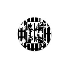 Black and white abstraction Golf Ball Marker