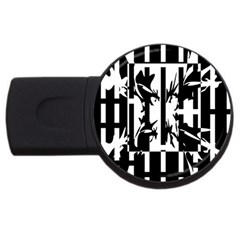 Black and white abstraction USB Flash Drive Round (1 GB)