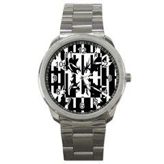 Black and white abstraction Sport Metal Watch