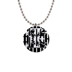 Black and white abstraction Button Necklaces