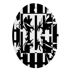 Black and white abstraction Oval Ornament (Two Sides)
