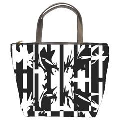 Black and white abstraction Bucket Bags