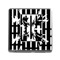 Black and white abstraction Memory Card Reader (Square)