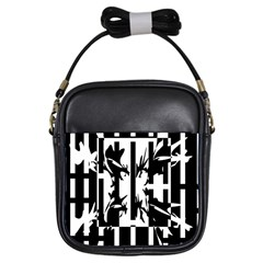 Black and white abstraction Girls Sling Bags