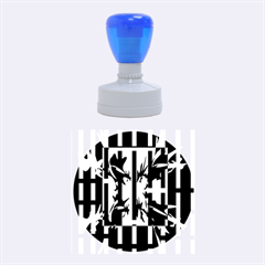 Black and white abstraction Rubber Round Stamps (Medium)