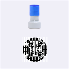 Black and white abstraction Rubber Round Stamps (Small)