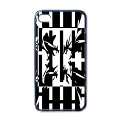 Black and white abstraction Apple iPhone 4 Case (Black)
