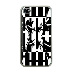 Black and white abstraction Apple iPhone 4 Case (Clear)