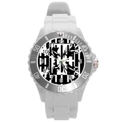 Black and white abstraction Round Plastic Sport Watch (L)