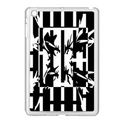 Black and white abstraction Apple iPad Mini Case (White)
