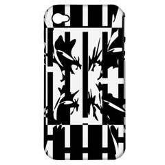 Black and white abstraction Apple iPhone 4/4S Hardshell Case (PC+Silicone)