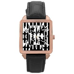 Black and white abstraction Rose Gold Leather Watch