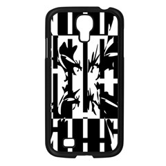 Black and white abstraction Samsung Galaxy S4 I9500/ I9505 Case (Black)