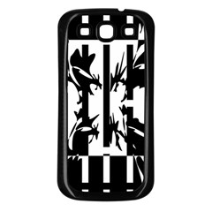 Black and white abstraction Samsung Galaxy S3 Back Case (Black)