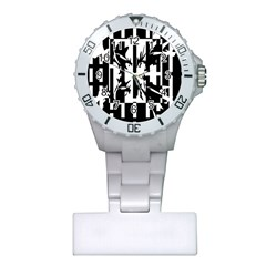 Black and white abstraction Plastic Nurses Watch