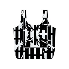 Black and white abstraction Full Print Recycle Bags (S)