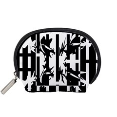 Black and white abstraction Accessory Pouches (Small)