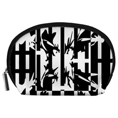 Black and white abstraction Accessory Pouches (Large)