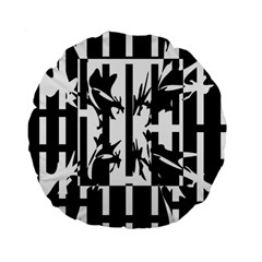 Black and white abstraction Standard 15  Premium Flano Round Cushions