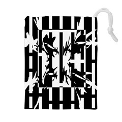 Black and white abstraction Drawstring Pouches (Extra Large)