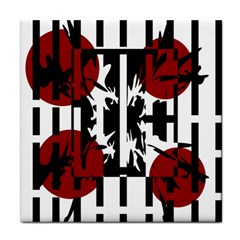 Red, black and white elegant design Tile Coasters
