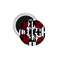 Red, black and white elegant design 1.75  Magnets