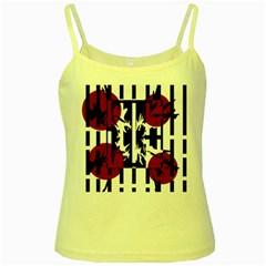 Red, black and white elegant design Yellow Spaghetti Tank