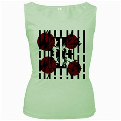 Red, black and white elegant design Women s Green Tank Top