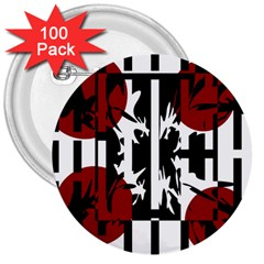 Red, black and white elegant design 3  Buttons (100 pack)