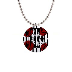 Red, black and white elegant design Button Necklaces