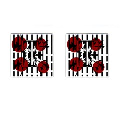 Red, black and white elegant design Cufflinks (Square)