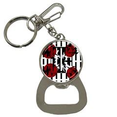 Red, black and white elegant design Bottle Opener Key Chains