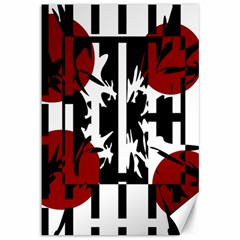 Red, black and white elegant design Canvas 12  x 18