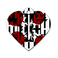 Red, black and white elegant design Dog Tag Heart (Two Sides)