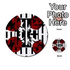 Red, black and white elegant design Multi-purpose Cards (Round)