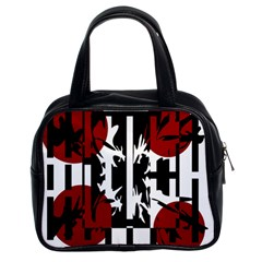 Red, black and white elegant design Classic Handbags (2 Sides)