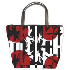 Red, black and white elegant design Bucket Bags