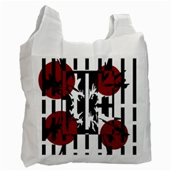 Red, black and white elegant design Recycle Bag (Two Side)