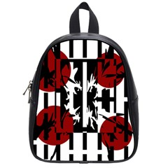 Red, black and white elegant design School Bags (Small)