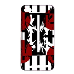 Red, black and white elegant design Apple iPhone 4/4s Seamless Case (Black)