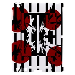 Red, black and white elegant design Apple iPad 3/4 Hardshell Case (Compatible with Smart Cover)